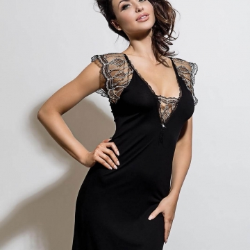 Sexy Lingerie Leda - Black Lace Nightgown