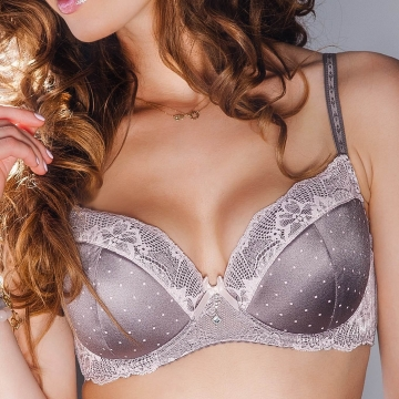 DAISY Grey and Pink Lace Push up Bra