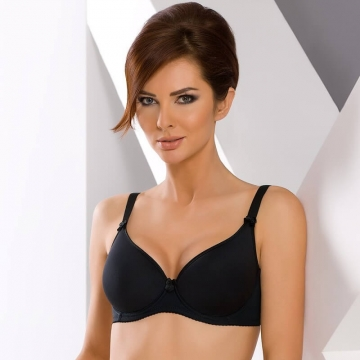 Demi Cut Seamless Black Spacer Bra - Adriana