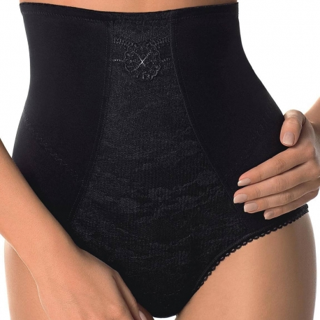 SENSUELLE Black Lace High Waist Briefs