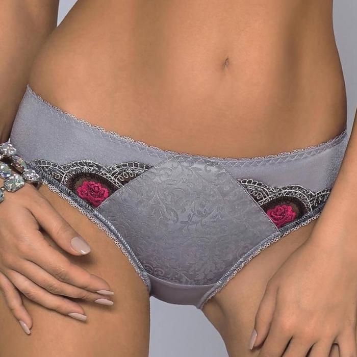 BELLA ROSA Grey Lace Bikini Panties