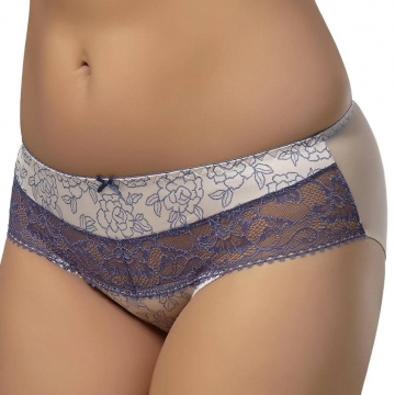 SILANA Beige and Steel Blue Lace Bikini Panties