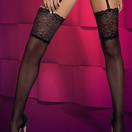 SUBTELIA Black Lace Fashion Stockings