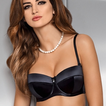 Black Strapless Push up Balconette Bra - Christelle