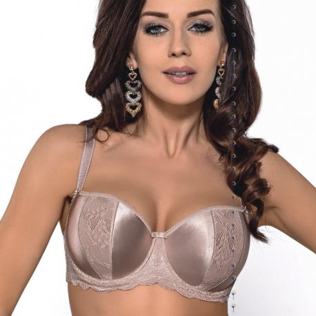 Leila Light Beige Padded Lace Balconette