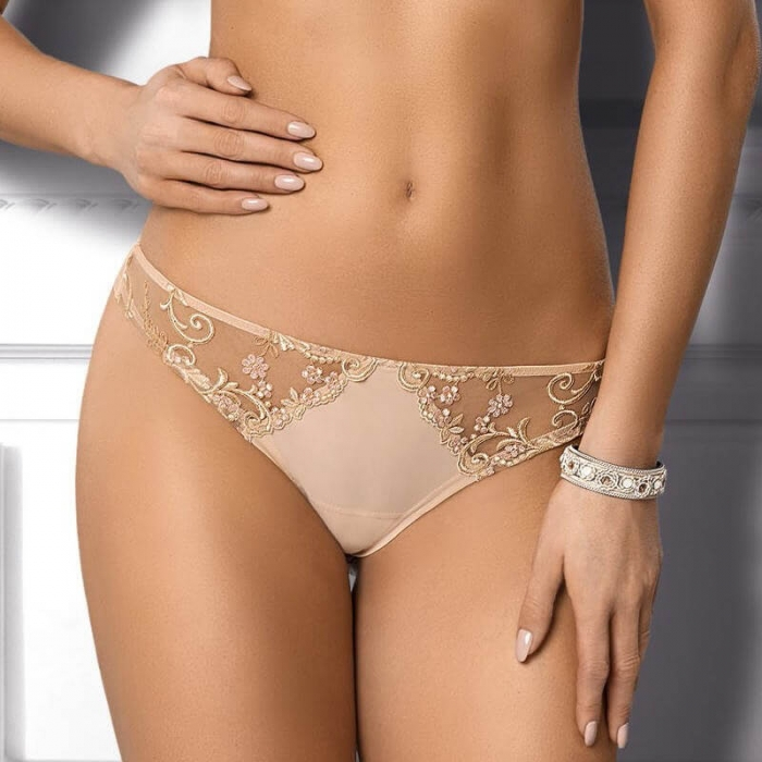 Paola Light Beige Sheer Lace Thongs