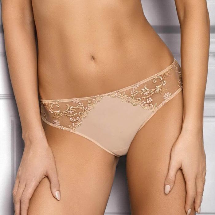 Paola - Light Beige Sheer Bikini Panties
