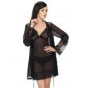Ultra Sheer Robe in Black - Mistique
