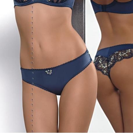 Audrey - Navy Blue Sheer Cheeky Panties