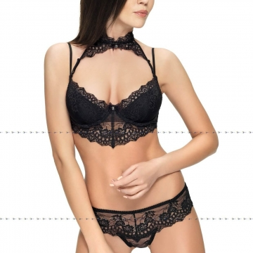 Black Lace Longline Collar Bra - Mistique