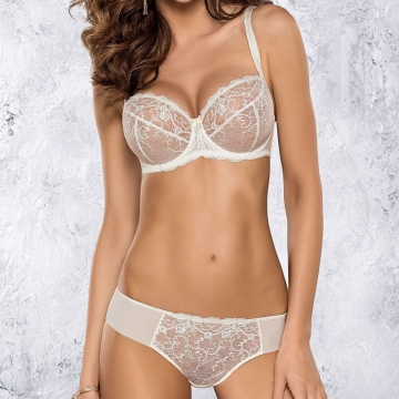 Sexy Cream Sheer Bra Plus Sizes - Selena