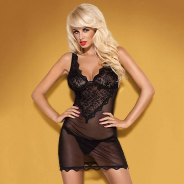 Empressia - Black Sheer Lace Chemise