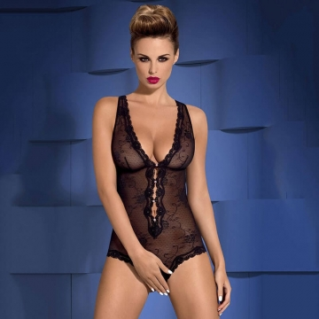 Fiorenta - Crotchless Black Sheer Teddy