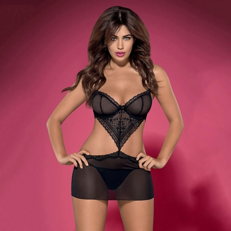 Picantina - Cutout Sheer Lace Chemise Set