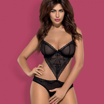 Picantina - Black Lace Crotchless Teddy