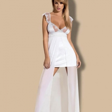 Feelia - White Long Sheer Nightgown Set