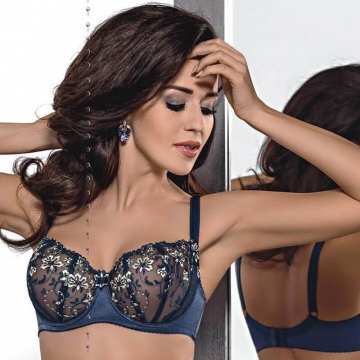Unlined Bras Audrey - Navy Blue Sheer Balconette: 32B, 32C, 32DD, 36B