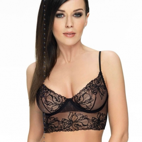 Hipnotic Black See Through Longline Bra