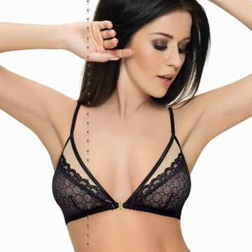 Black Lace Sheer Bralette Bra - Venus