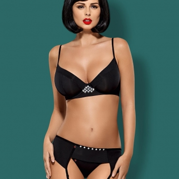 Unlined Underwire Bra Set Black - Gretia