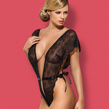 Merossa - Black Sheer Lace Crotchless Teddy