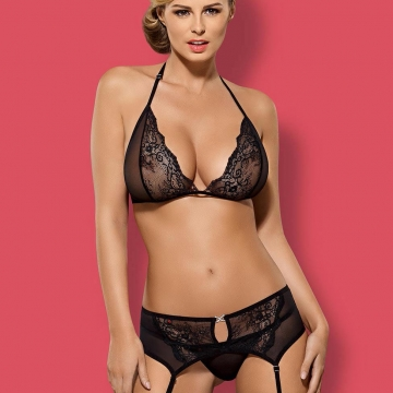 Merossa - Black Sheer Lace Bra Set