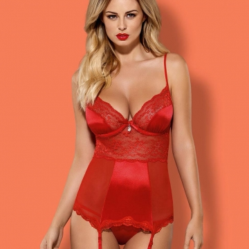 Lovica - Red Sheer Lace Corset Set