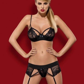 Wonderia - Sheer Padded Strappy Bra Set