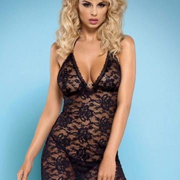 Catia - Sexy Black Sheer Chemise
