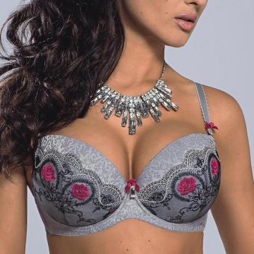 Bras  Grey Lace Push up Bra - Bella Rosa