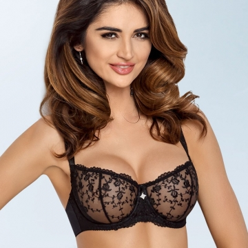 Unlined Bras Ines - Black Ultra Sheer Bra Balconette