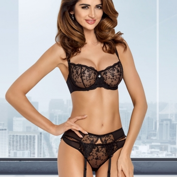 Black Ultra Sheer Bra - Ines Balconette