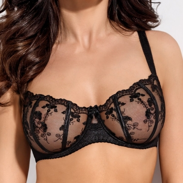 Black Ultra Sheer Bra - Salma Balconette