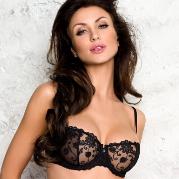Bras  Pamela - Black Sheer Bra Balconette