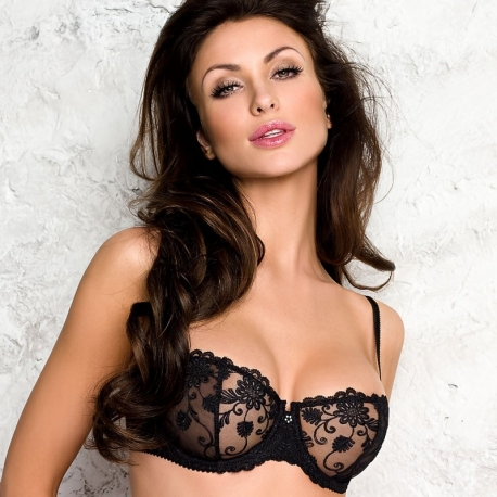Black Sheer Bra - Pamela Balconette