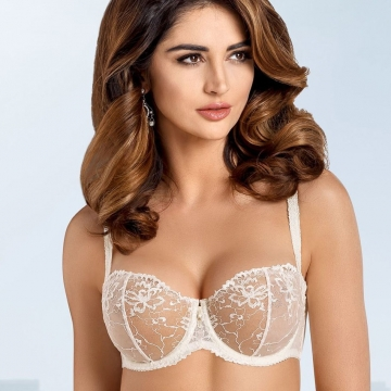 Unlined Bras Light Cream Sheer Bra - Lea Balconette