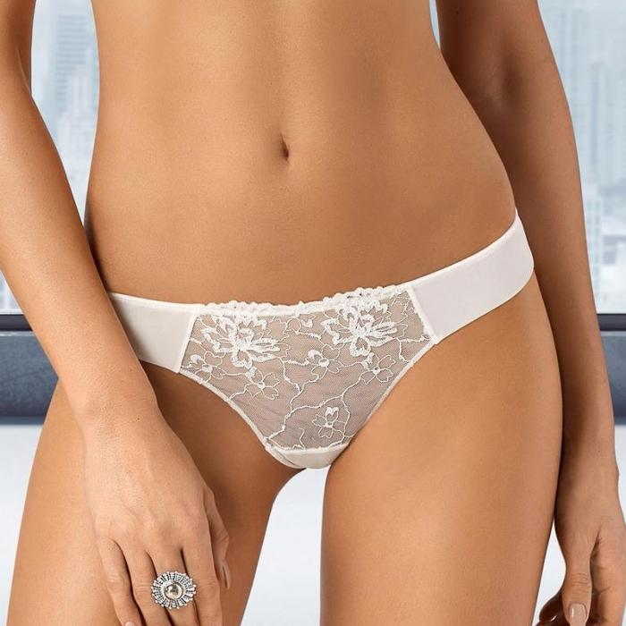Light Cream Sheer Seamless Thongs - Lea