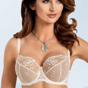 Unlined Bras Light Cream Sheer Bra Plus Sizes - Lea