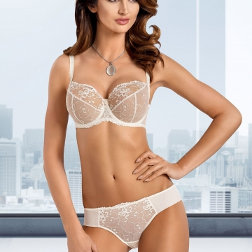 Light Cream Sheer Bra Plus Sizes - Lea