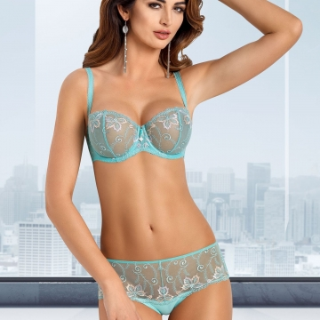 Molly - Turquoise Sheer Bra Balconette