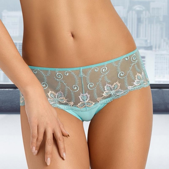 Turquoise Sheer Hipster Panties - Molly