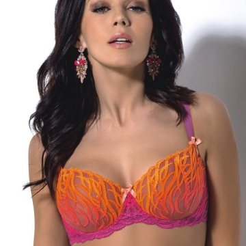 Unlined Bras Purple Ombré Lace Bra - Tequila Sunrise