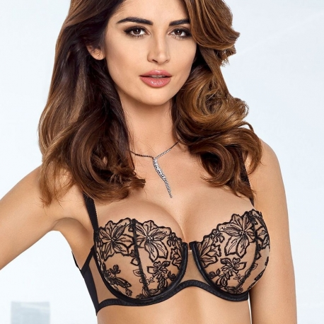 Black Ultra Sheer Bra - Nori Balconette