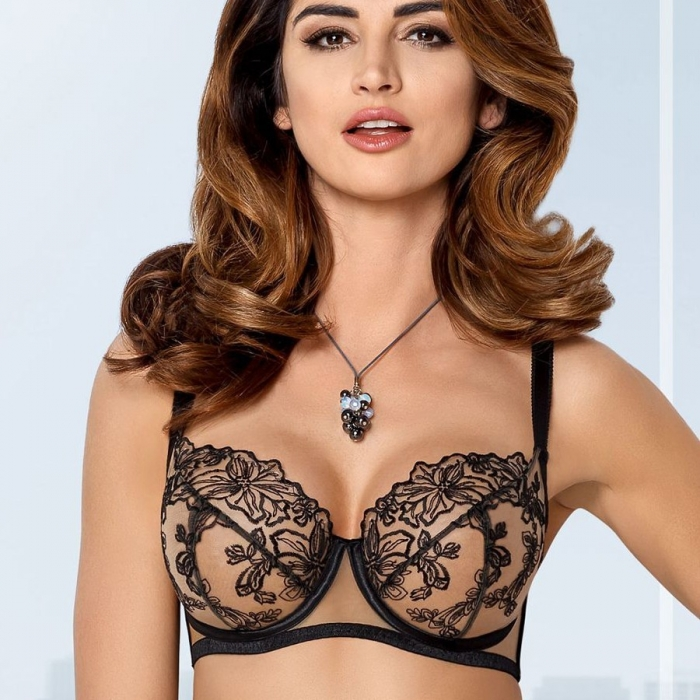 Black Ultra Sheer Bra Plus Sizes - Nori