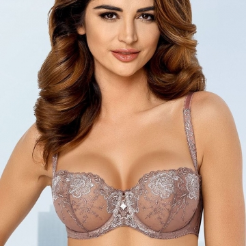Unlined Bras Camilla - Lace Sheer Bra Beige Balconette