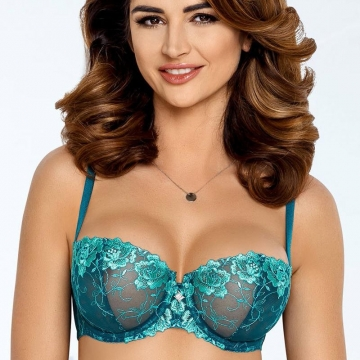 Sexy Lingerie Leticia - Green See Through Balconette Bra