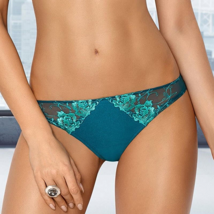 Leticia Green Lace Sheer Thongs