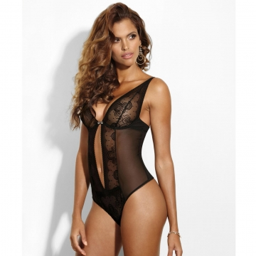 Cat Eye - Black Sheer Bodysuit