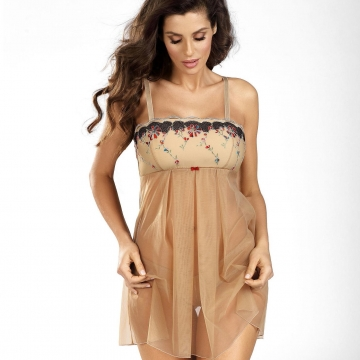 Sexy Lingerie Nuts & Caramel - Light Beige Sheer Babydoll