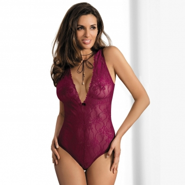 Spicy Salsa - Maroon Lace Bodysuit